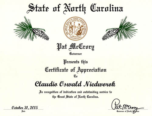 certificate of appreciation Governor North Carolina