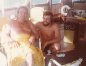 Phil Harris and Claudio aboard the La Costa Brava off Peter Island